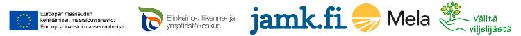 Logokollaasi EU, ELY, JAMK, Mela ja Välitä viljelijästä -hanke.