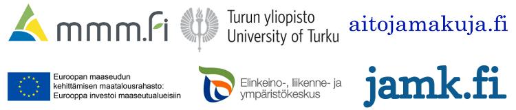 Logokollaasi: MMM, Turun yliopisto, Aitoja Makuja, EU, ELY ja JAMK