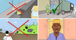 Raising awareness through a cartoon on household solid waste management