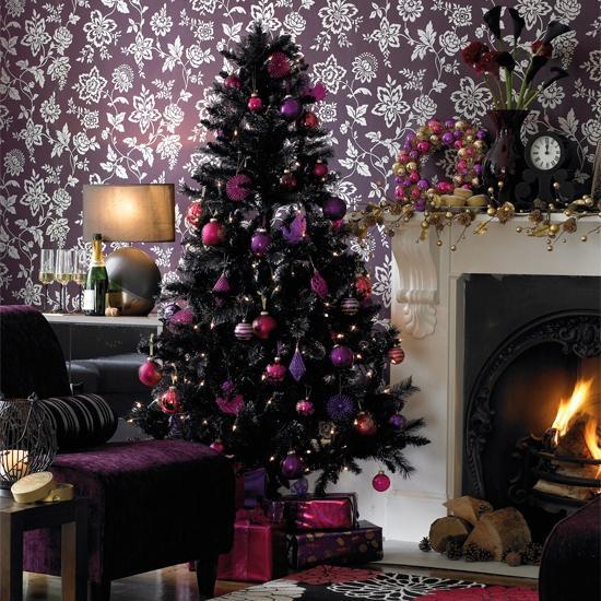 Albero Natale Nero Con Palline Rosa, Fucsia E Viola