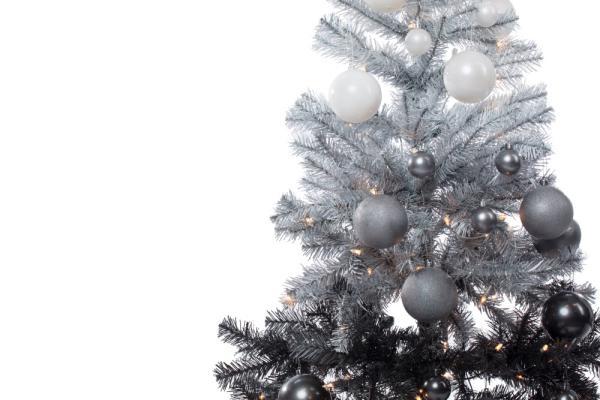 Albero Di Natale Sfumato Nero Argento Bianco