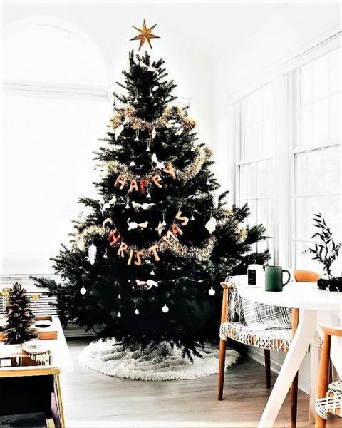 Albero Nero E Oro Happy Christmas