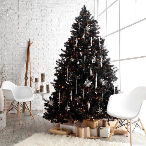 Folto Albero Di Natale Nero Con Fiocchi E Stelle Argento