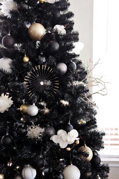 Palline Glitterate Nere Oro Argento Su Albero Natale Nero