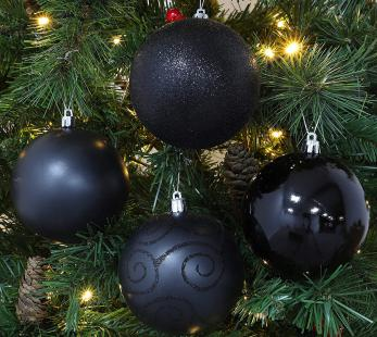 Christmas Concepts Confezione Da 5 Palline Nere Extra Large 100mm
