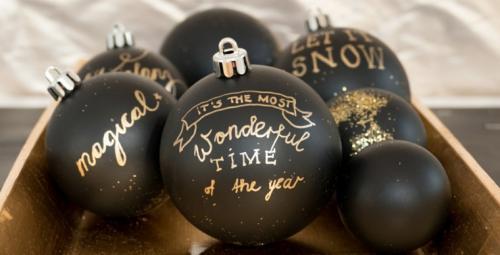 Palline Di Natale Nere Con Scritte Oro Glitter Fatte A Mano