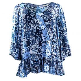 Blusa Mujer Michael by Michael Kors Patchwork Flowers (Azul-01, L)