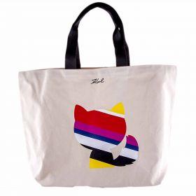 Bolso Mujer Karl Lagerfeld Stripes Luxury Canvas Shopper (Beige-01, Única)