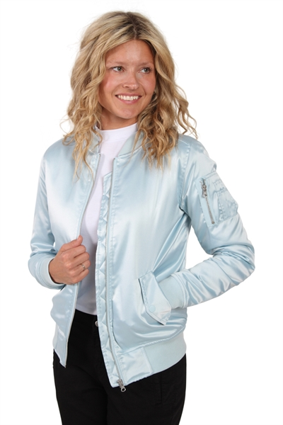 Urban Classics - Jakke TB1279 - Ladies Satin Bomber Jacket - Baby Blue