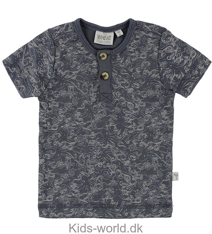 Wheat T-shirt - Bertram - Greyblue m. Blæksprutter