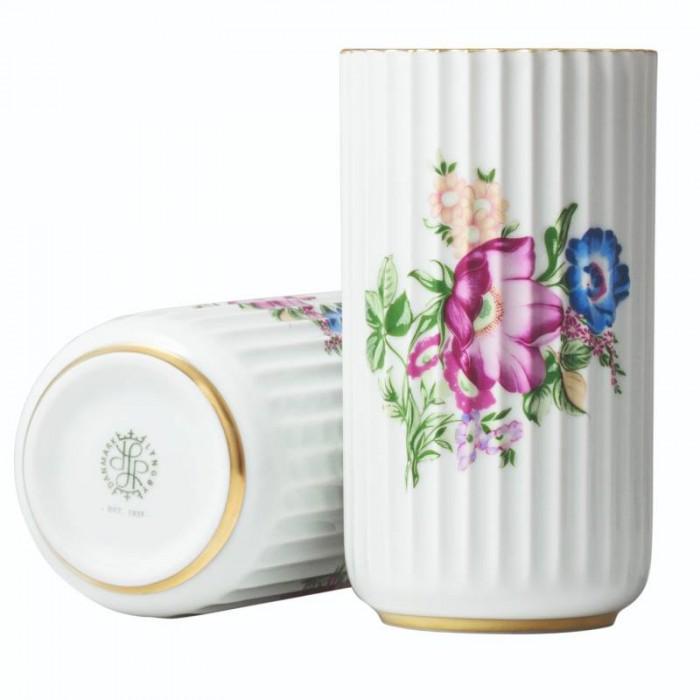 Lyngby vase med blomster dekoration (hvid/h15 cm)