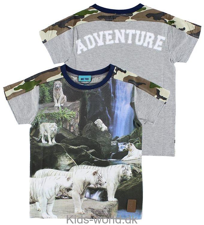 Me Too T-shirt - Gråmeleret m. Hvide Tigre
