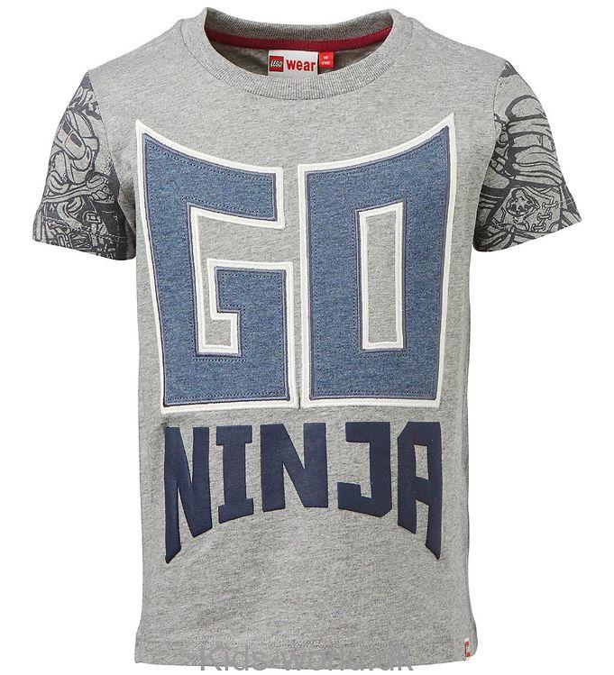 Lego Ninjago T-shirt - Gråmeleret m. Go Ninja