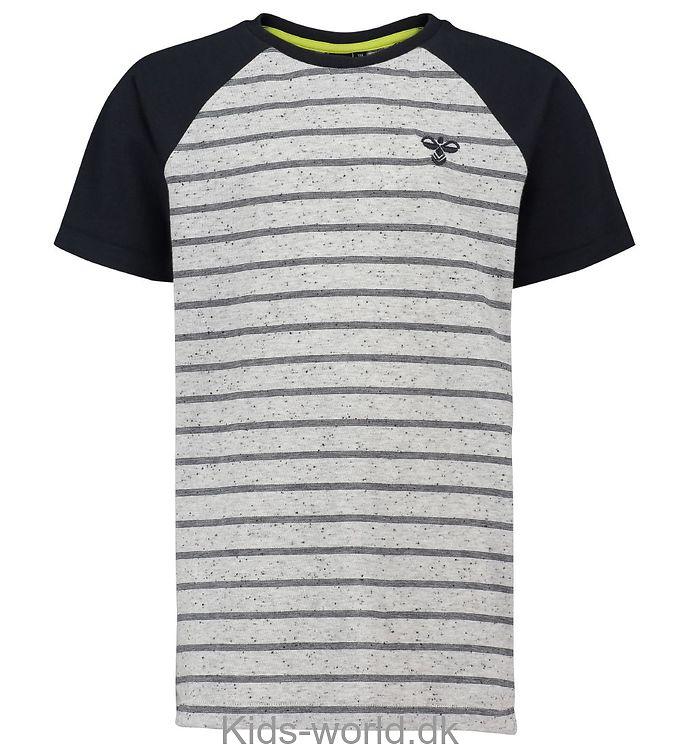 Hummel T-Shirt - Martin - Gråmeleret/Sort m. Striber