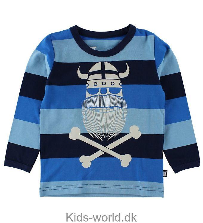 Danefæ Bluse - Blå/Navystribet m. Spøgelse