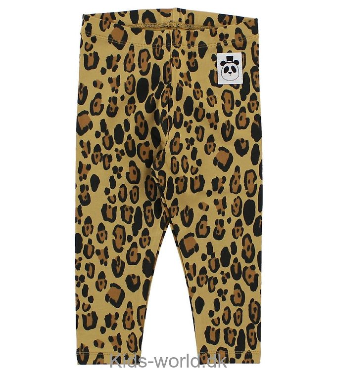 Mini Rodini Leggings - Lysebrun Leopard m. Panda
