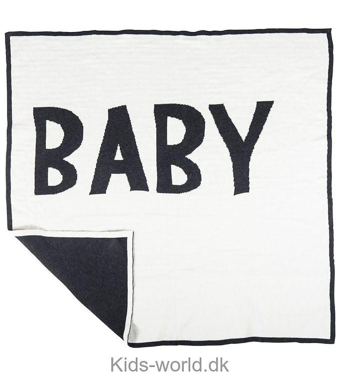 Sebra Strikket Babytæppe - 80x80 - Creme/Koksgrå