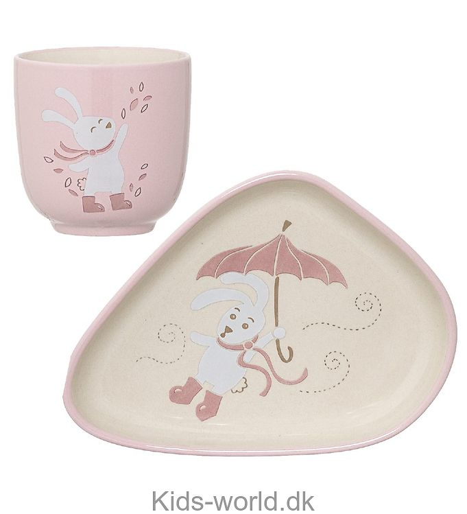 Bloomingville Kop & Tallerken - Porcelæn - Creme/Rosa m. Kanin