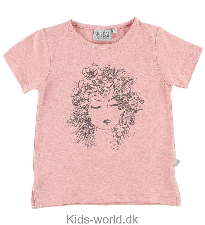 Wheat T-shirt - Pinkmeleret m. Print