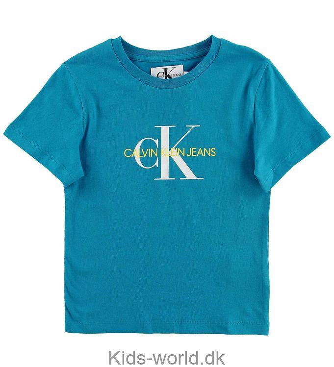 Calvin Klein T-shirt - Turkis m. Hvid/Gul