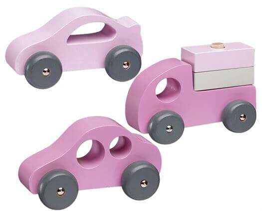 Træbiler 3 i sæt, Rosa - Kids Concept