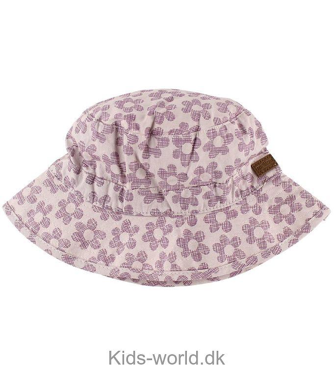 Melton Bøllehat - UV30 - Lilla m. Blomster