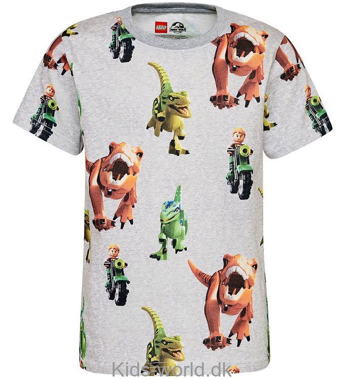 Lego Jurassic World T-shirt - Gråmeleret m. Dinosaurer