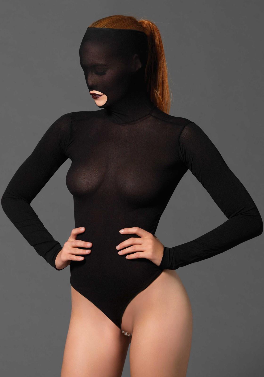 Leg Avenue - Kink langærmet body m. maske og perle g-streng