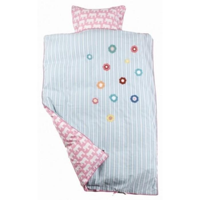 Sengetøj pink stribet/elefanter