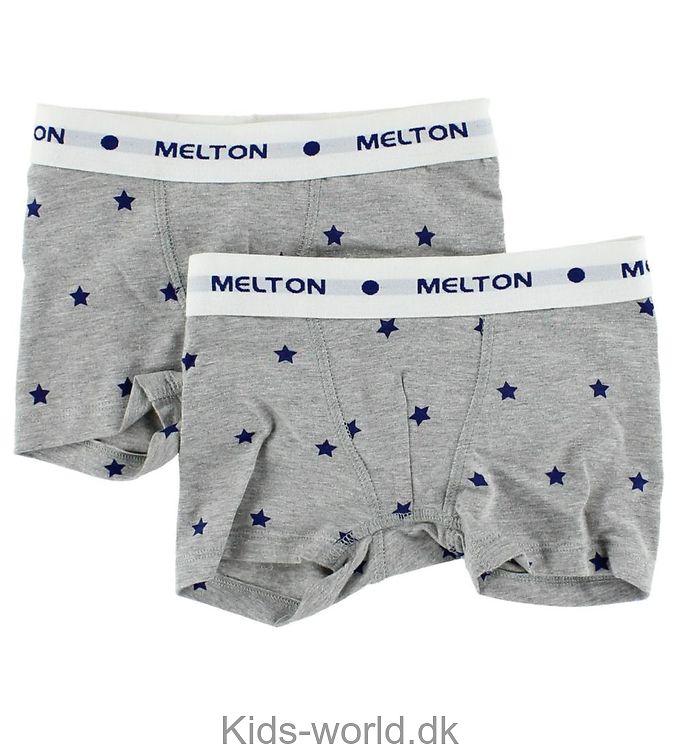Melton 2-pak Boxershorts - Gråmeleret m. blå stjerner