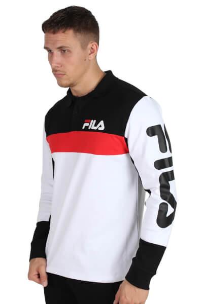 Fila Minton LS Polo Bright White/Black/High Risk Red