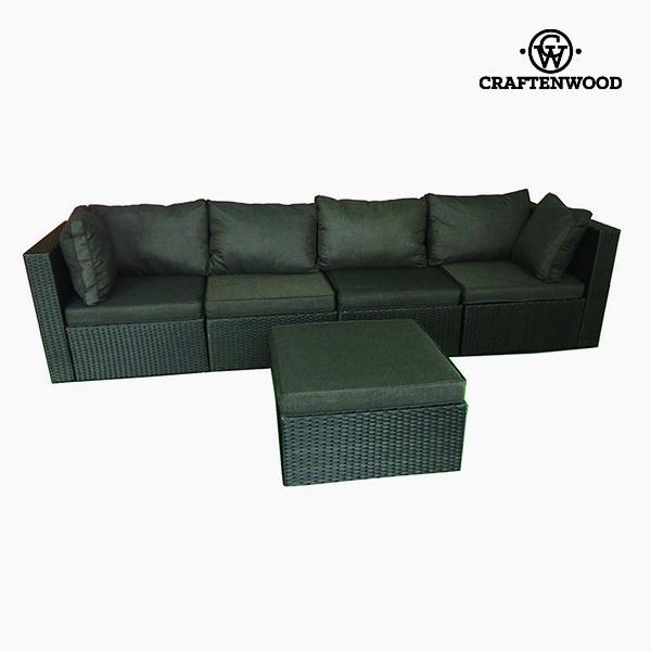 Sofa og pufsæt (5 pcs) Spanskrør Gris oscuro