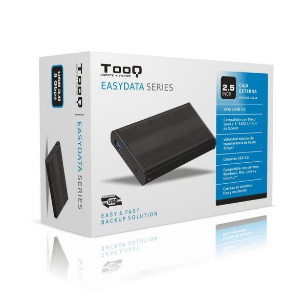 Ekstern Boks TooQ TQE-2524B HD 2.5'''' SATA III-USB 3.0 FAT32 / NTFS / eXT2 / HFS Aluminium Sort