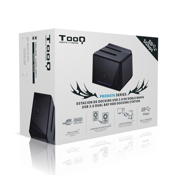 Dual dock-station TooQ TQDS-902B 2.5''''-3.5'''' HDD SATA USB 3.0 Sort