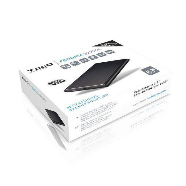 Ekstern Boks TooQ TQE-2529B HD 2.5'''' SATA III-USB 3.0 FAT32 / NTFS / eXT2 / HFS Aluminium Sort
