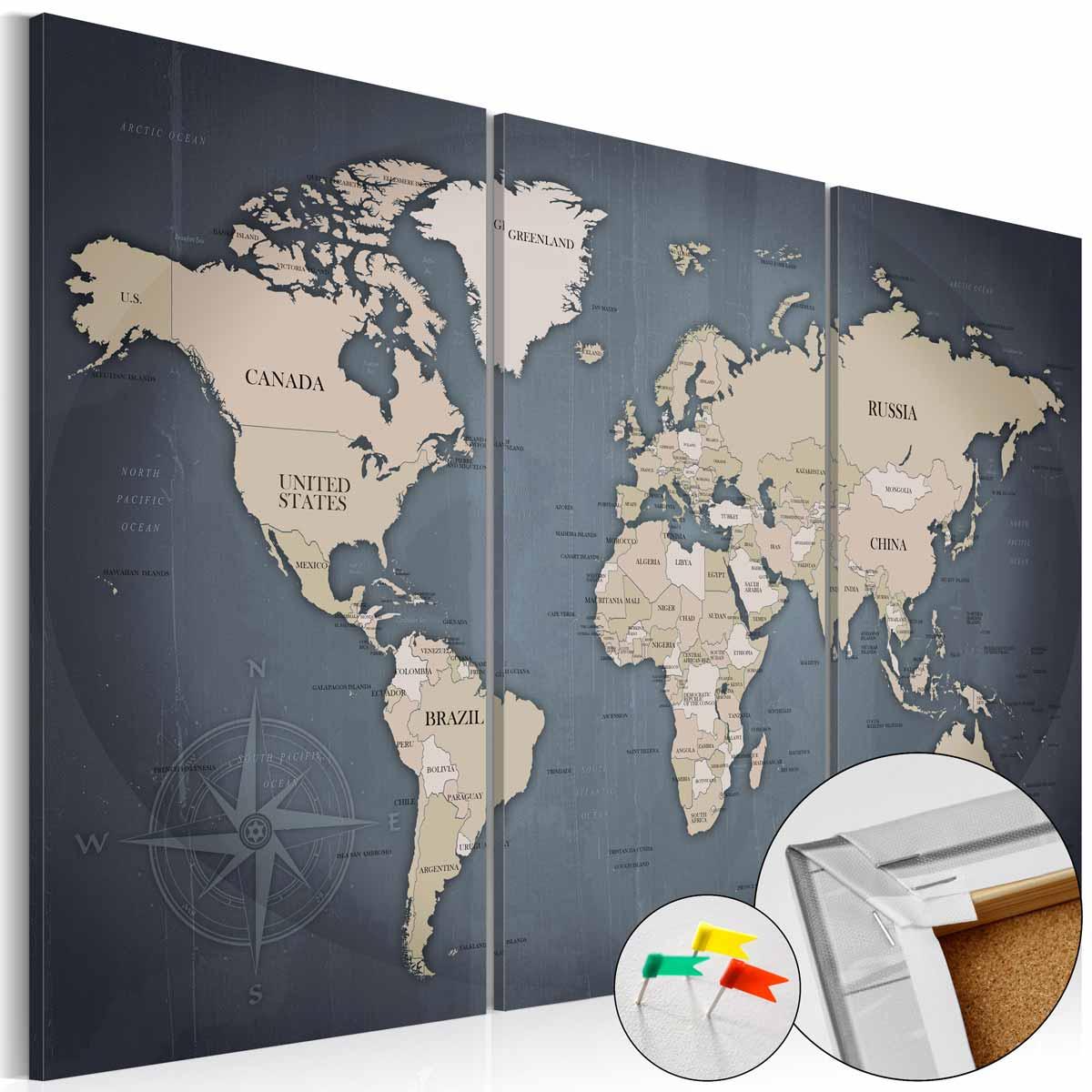 ARTGEIST Antique Travel verdenskort billede - lysebrun og gr/sort print p kork (40x60)
