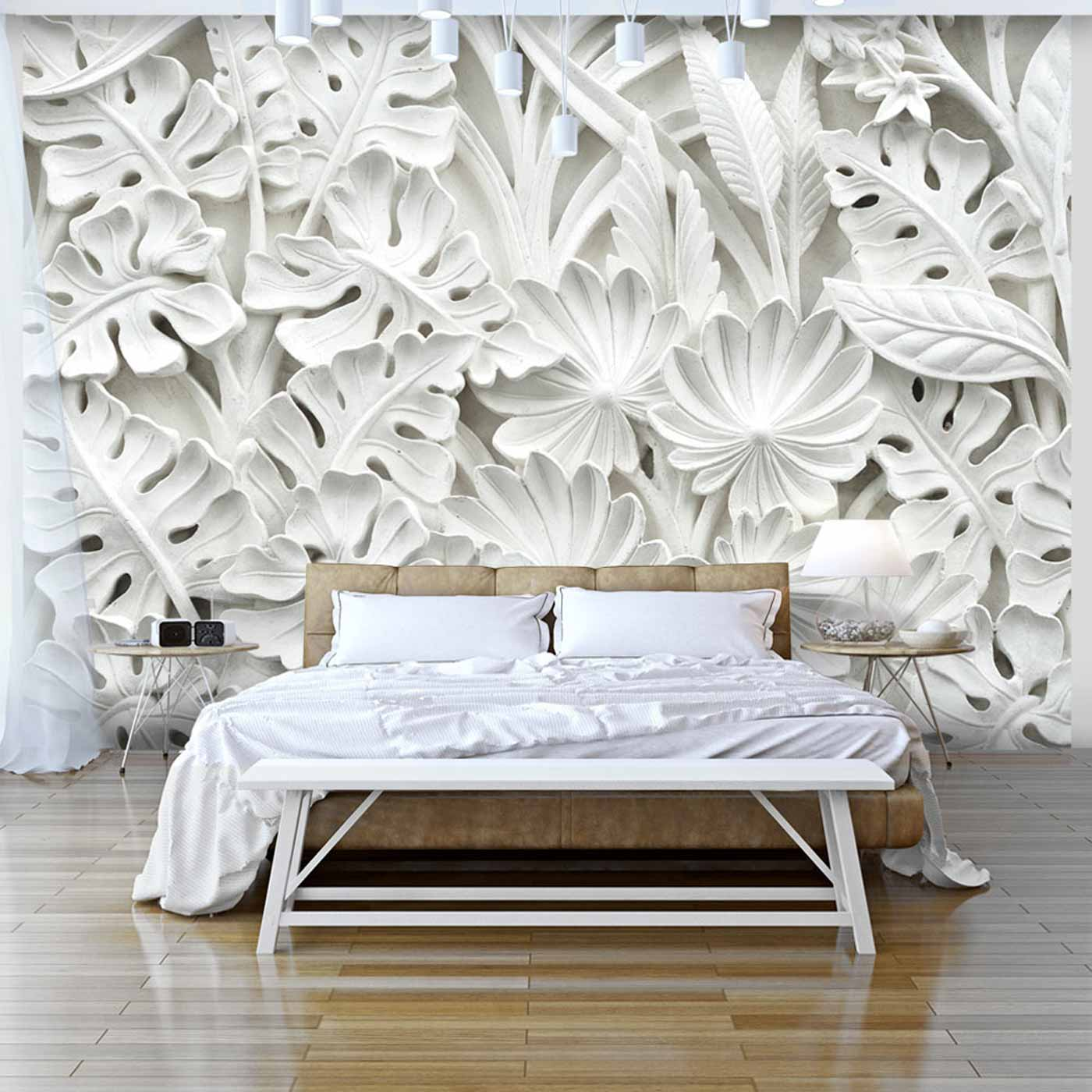 ARTGEIST Alabaster Garden fototapet - hvid print (105x150)