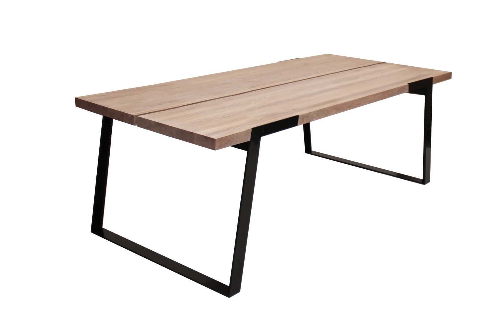 CANETT Zilas plankebord - hvidolieret vildeg og sort metal, m. udtrk (240x100)