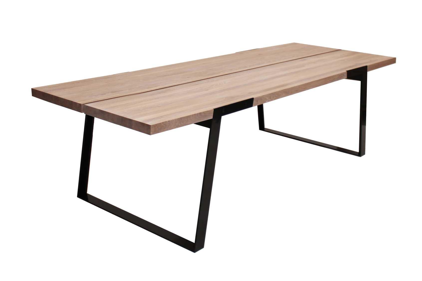 CANETT Zilas plankebord - hvidolieret vildeg og sort metal, m. udtrk (290x100)