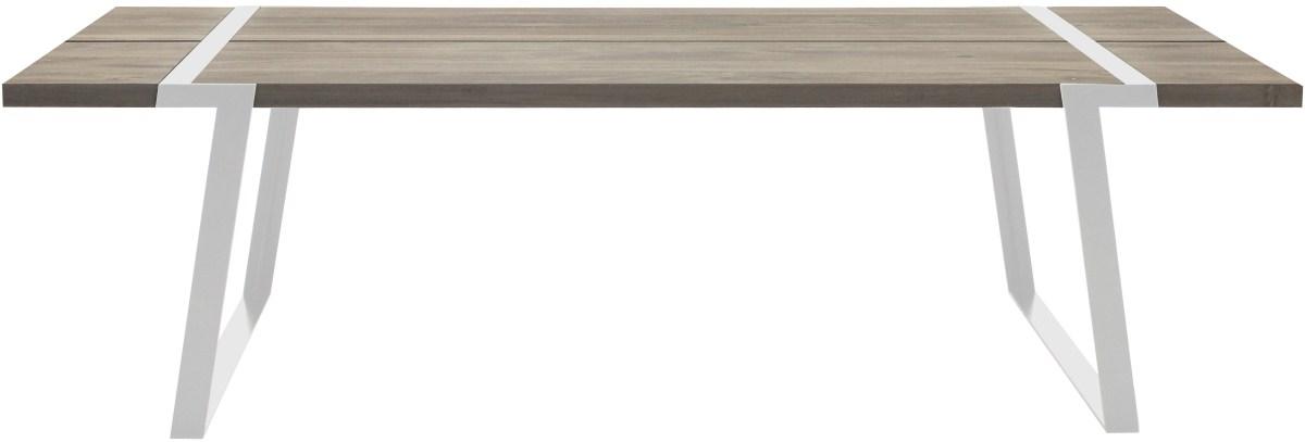 CANETT Gigant plankebord - massiv hvidolieret egetr og hvidt jern (240x100)