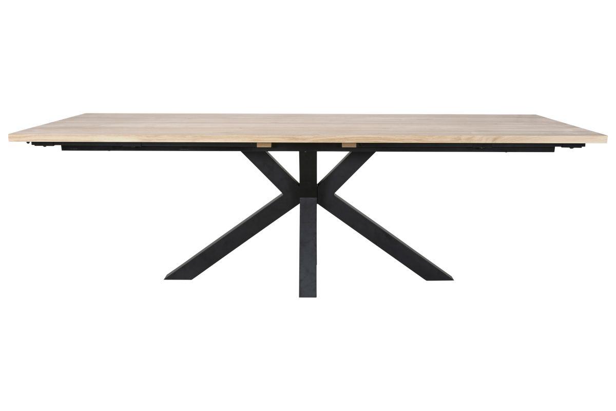 CANETT Maison plankebord - hvidolieret fineret vildeg og sort metal (240x100)