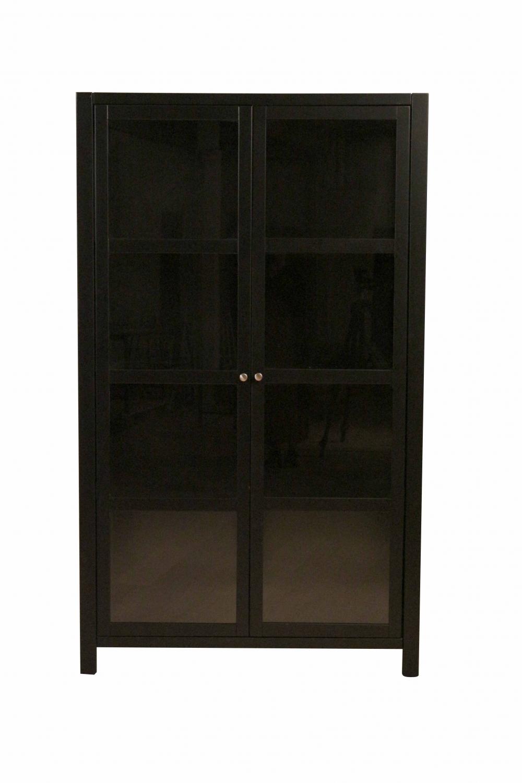 Wima vitrineskab - sort tr, m. 2 glaslger