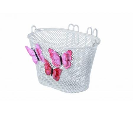 """Basil - Jasmin - Cykelkurv til børnecykel - 12""""-20"""" - Hvid med sommerfugle"""