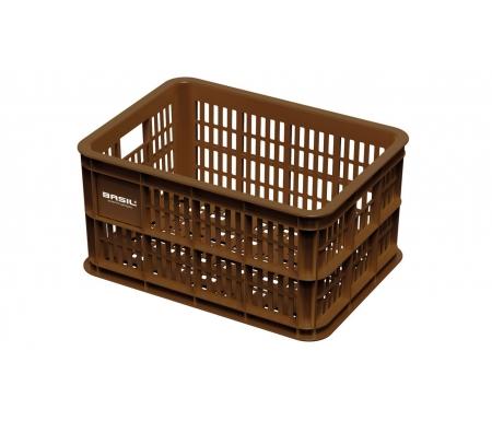 Basil Crate S - Plast kurv - Til opbevaring eller bagagebærer - Saddle brown