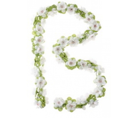 Blomsterkrans Hvid plast til cykelkurv