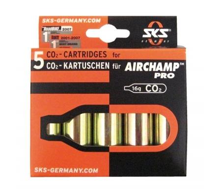 Co2 Patron Air Champ uden gevind 5 stk. a 16 gram i sæt.