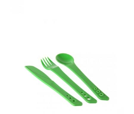 LifeVenture Ellipse Cutlery Set - Letvægts bestiksæt plastik med 3 dele - Grøn