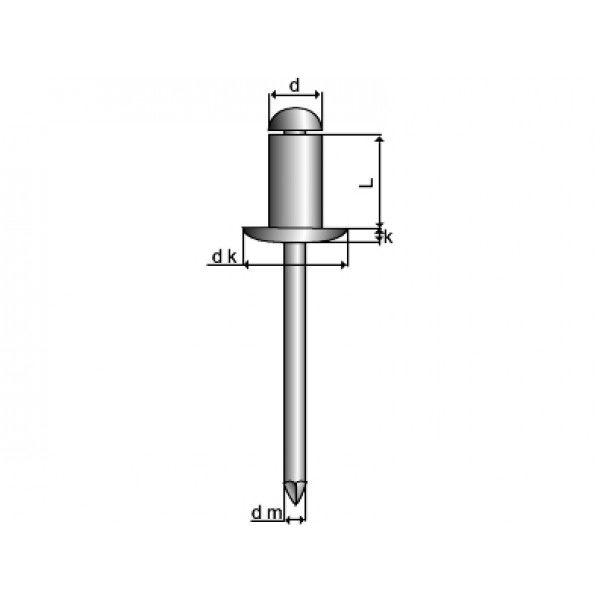 Blindnitte åben Essve 4,8x18 alu/st pan - 325 stk