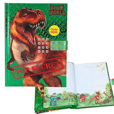 Dino World - Dinosaur Dagbog Med Kodelås Og Lyd