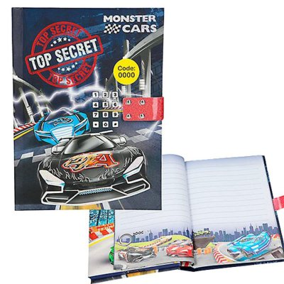 Monster Cars Biler - Dagbog Med Kodelås Og Lyd